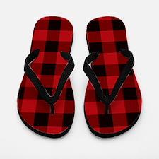 Red Plaid Flip Flops