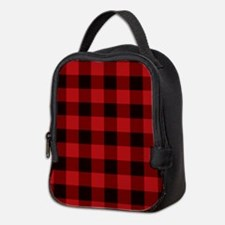 Red Plaid Neoprene Lunch Bag