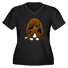 Cute Basset hound Women's Plus Size V-Neck Dark T-Shirt