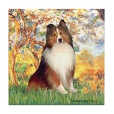 Spring / Sheltie (#1) Tile Coaster