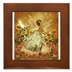 Fairy girl in fairy ring Framed Tile