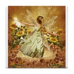 Fairy girl in fairy ring Tile Coaster