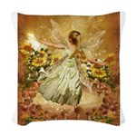 Fairy girl in fairy ring Woven Throw Pillow