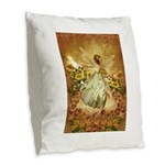 Fairy girl in fairy ring Burlap Throw Pillow