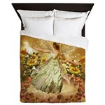 Fairy girl in fairy ring Queen Duvet