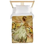 Fairy girl in fairy ring Twin Duvet
