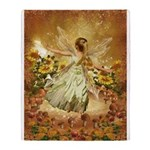 Fairy girl in fairy ring Throw Blanket