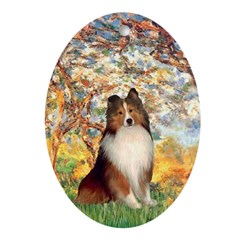 Spring / Sheltie (#1) Ornament (Oval)