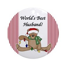 Bear World's Best Husband Ornament (Round)