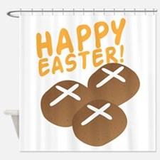 HAPPY EASTER with hot cross buns Shower Curtain