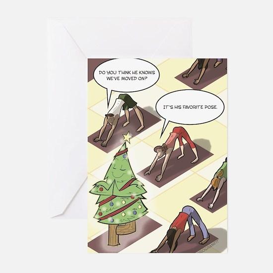 Holiday Yoga Tree Pose Greeting Cards