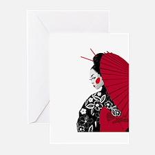 geishashowercurtain Greeting Cards
