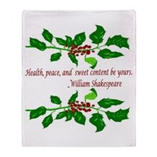 Holiday Shakespeare Quote Throw Blanket