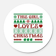 This Girl Loves Christmas Round Car Magnet