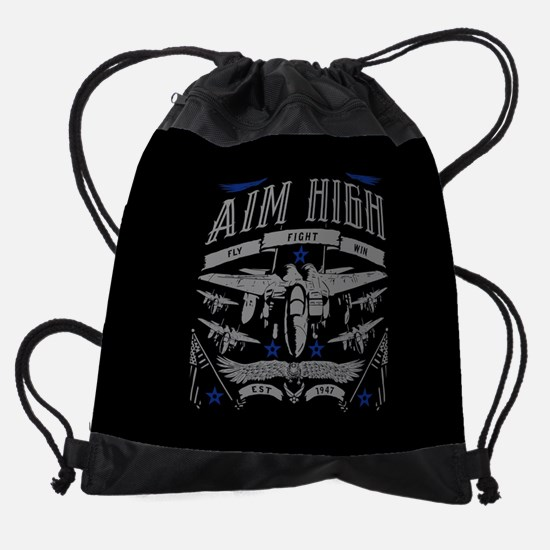 Aim High Fly Fight Win Drawstring Bag