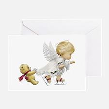 Cute Christmas Baby Angel Skating Greeting Cards