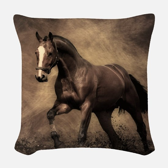 Beautiful Brown Horse Woven Throw Pillow