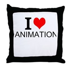 I Love Animation Throw Pillow