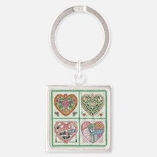 4 Hearts Cross-Stit... Keychains