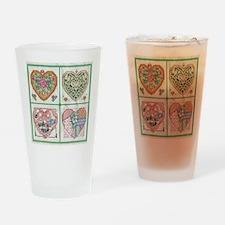 4 Hearts Cross-Stit... Drinking Glass