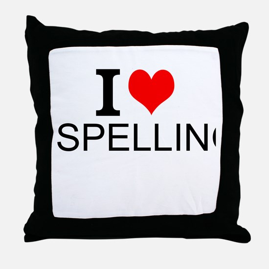 I Love Spelling Throw Pillow