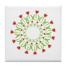 pd tulip wreath Tile Coaster