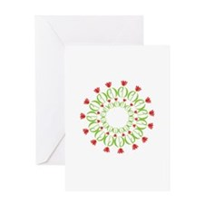 pd tulip wreath Greeting Cards