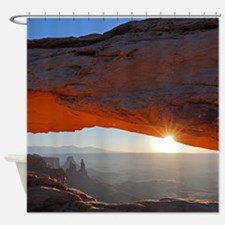 Red sunrise Shower Curtain