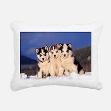 Three Husky puppies Rectangular Canvas Pillow
