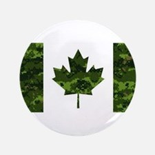 Canadian Flag with Green Camo Background Button