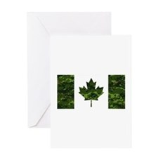 Canadian Flag with Green Camo Backg Greeting Cards