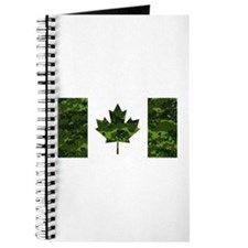 Canadian Flag with Green Camo Background Journal