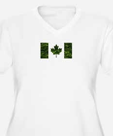 Canadian Flag with Green Camo Ba Plus Size T-Shirt