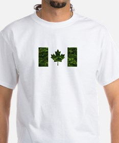 Canadian Flag with Green Camo Background T-Shirt