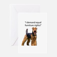 Stubborn Airedale Terrier Protestin Greeting Cards