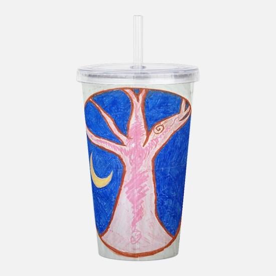 Pink Tree Mandala Acrylic Double-wall Tumbler