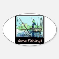 Gone Fishing Design Oval Decal