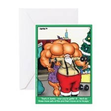 Cute Bodybuilding cartoon Greeting Card