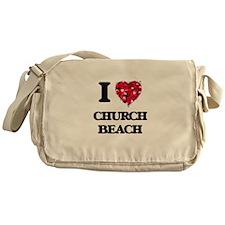 I love Church Beach Michigan Messenger Bag