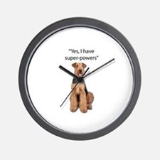 Airedale that believes they have super Wall Clock