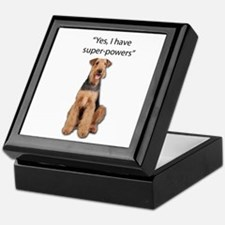 Airedale that believes they have supe Keepsake Box