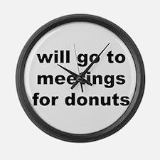 meetingsfordonutsd.png Large Wall Clock