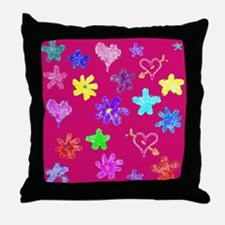 Hearts & Flowers Throw Pillow