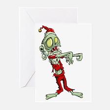 zombie christmas santa claus Greeting Cards