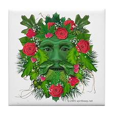 Green Man w/Roses Tile Coaster
