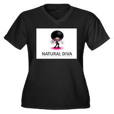 Cute Alicia Women's Plus Size V-Neck Dark T-Shirt
