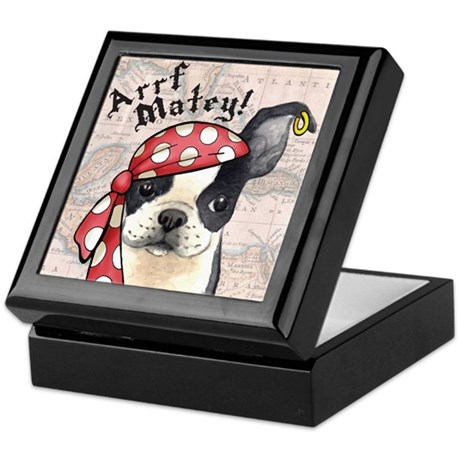Boston Terrier Pirate Keepsake Box