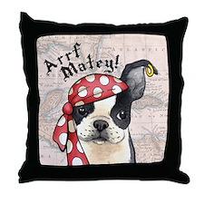 Boston Terrier Pirate Throw Pillow