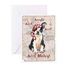 Boston Terrier Pirate Greeting Card