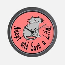 Adopt and Save a Life! Cat Wall Clock